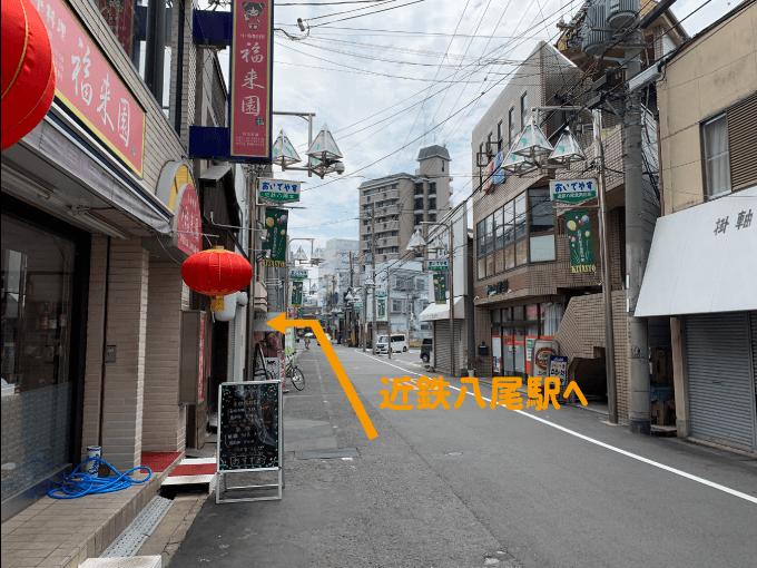 福来園から近鉄八尾駅への向き